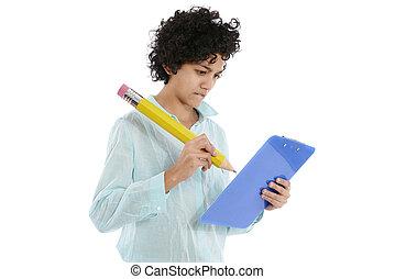 businesswoman, skrift, stor, blyant