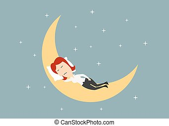 Businesswoman sleeping on crescent of the golden moon in blue sky with stars, relaxation concept theme. Cartoon flat style