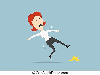 Redhead businesswoman slipped on a banana peel and falling down on the floor. Cartoon flat style