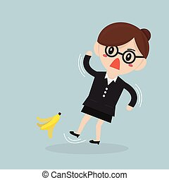 Businesswoman slipping on a banana peel. vector. flat design
