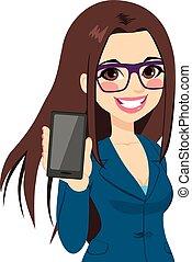 businesswoman, smartphone, het tonen, verticaal