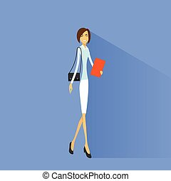 Businesswoman smile, full length business woman flat icon...