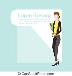 Businesswoman Smile, Standing Hold Folder Full Length...