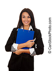 Smiling business woman standing with folded hands