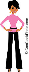 Businesswoman Smiling Cartoon - Vector illustration of an...
