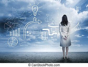 businesswoman stå