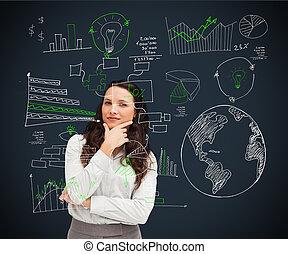 businesswoman stå, imod, en, sort baggrund, hos, afbildningerne, kigge, direkte, into, den, kamera