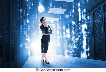 businesswoman stå, og, kigge