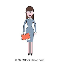 Businesswoman Stand Holding Documents, Business Woman Full...
