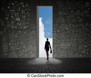 businesswoman standing at the exit