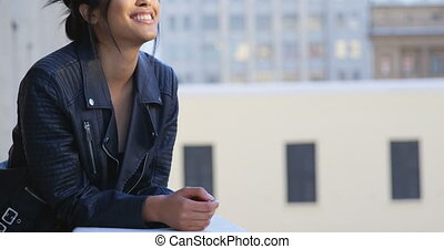 Businesswoman standing in balcony at office 4k - Happy ...