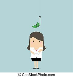 Businesswoman standing in front of a hook with a dollar sign as bait.
