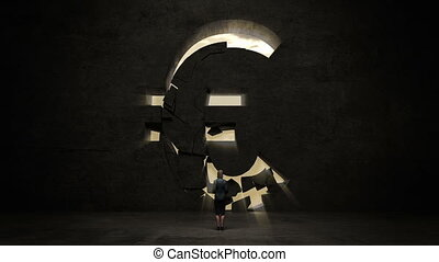 businesswoman standing in front of black wall, shape of a Euro sign.Euro currency.Euro money.