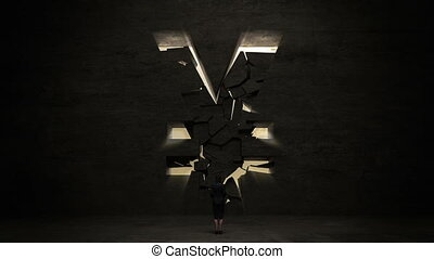 businesswoman standing in front of black wall, shape of a Yen sign.Yen currency.Yen money.