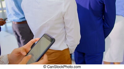 Businesswoman standing in queue at business seminar 4k - Mid...