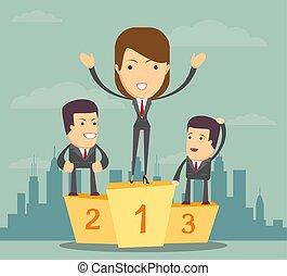 Businesswoman standing on the winners podium