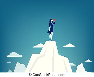 Businesswoman standing on top of the mountain using telescope looking for success