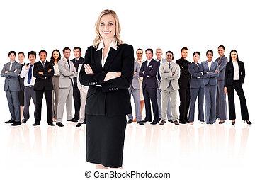 Businesswoman standing up
