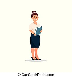 Businesswoman standing with a folder in her hands, secretary woman, business character working in office cartoon vector Illustration