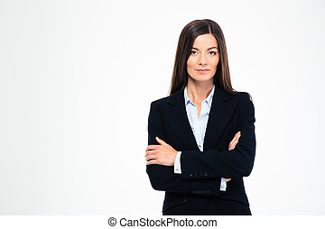 Businesswoman standing with arms folded
