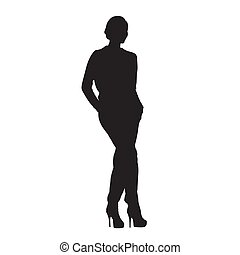 Businesswoman standing with hands in pockets, isolated vector silhouette