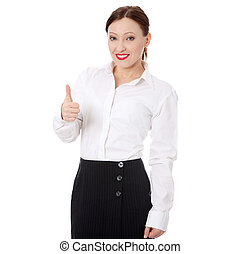 Businesswoman standing with thumb up