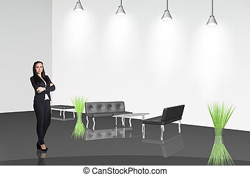 businesswoman stands in the office hall