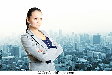 Businesswoman staying over city view