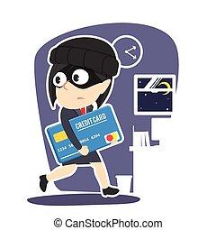 Businesswoman stealing credit card