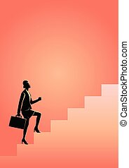 Businesswoman stepping on stairs - Business concept vector...