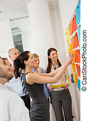Businesswoman sticking labels on whiteboard during meeting