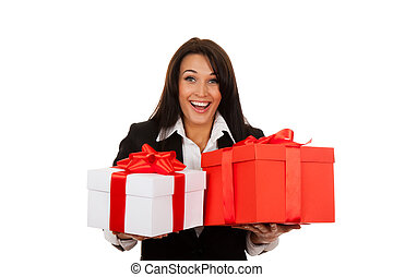 Businesswoman - Business woman happy smile hold two gift box...