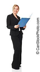 businesswoman - standing caucasian businesswoman isolated on...