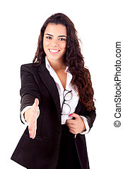 Businesswoman - Young business woman offering handshake