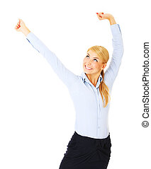 Businesswoman - A picture of a young happy woman stretching...