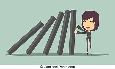 businesswoman stopping the domino effect