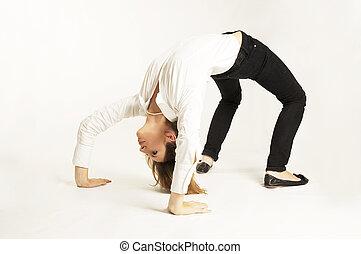 Businesswoman bending backwards. Conceptial shot. Business flexibility.