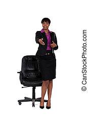 Businesswoman stretching hand for handshake
