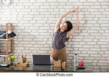 businesswoman, stretching