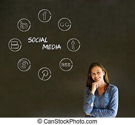 Businesswoman, student or teacher social media chalk concept...