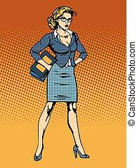 businesswoman superhero woman vamp pop art retro style. A...