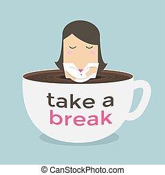 Businesswoman take a break in a coffee cup.