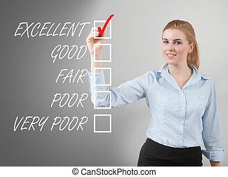 businesswoman take survey on glass board, grey background
