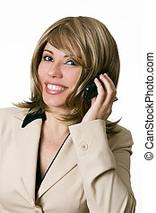 Businesswoman takes a phone call