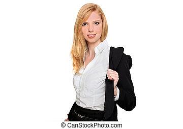 Businesswoman taking her jacket off