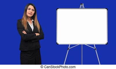Businesswoman talking by flip chart