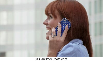 Businesswoman talking, mobile phone