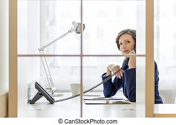 Businesswoman talking on a phone in the office