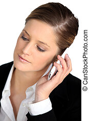 businesswoman talking on her cell