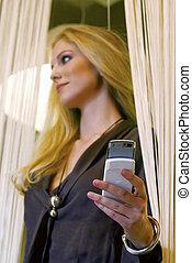businesswoman talking on mobile phone wmn